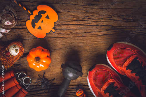 Happy Halloween day with Fitness, Exercise, Working out healthy lifestyle background concept.  Flat lay Top view with copy space for your text.