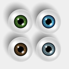 Set Of Four Vector 3d Shiny Eyeballs With Colorful Iris On White Background