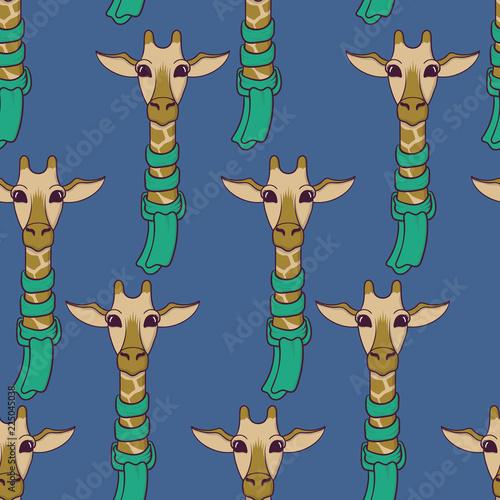 Photo  Cute Giraffe in scarf seamless pattern