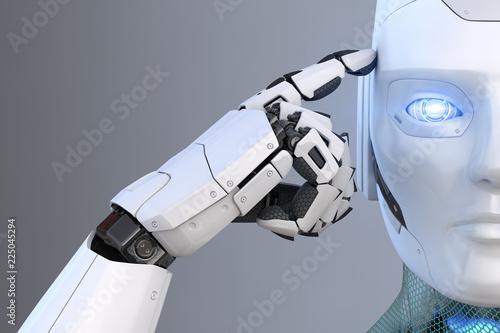 Robot holds a finger near the head Wallpaper Mural