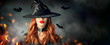 canvas print picture - Halloween. Sexy witch portrait. Beautiful young woman in witches hat with long curly red hair