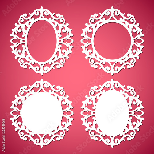 d67a63ced55b Laser cut vector abstract oval and circular frames with swirls ...