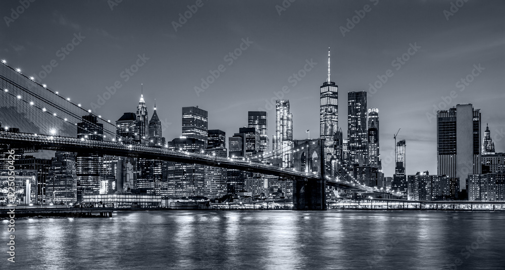 Fototapety, obrazy: Panorama new york city at night  in monochrome blue tonality