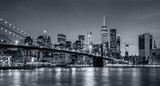Fototapeta Miasto - Panorama new york city at night  in monochrome blue tonality
