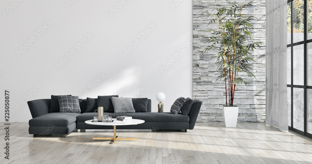 Fototapeta large luxury modern bright interiors apartment Living room illustration 3D rendering computer generated image