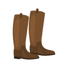 Horse Jockey Boots Color Vecto...