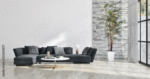 Fototapeta large luxury modern bright interiors apartment Living room illustration 3D rendering computer generated image obraz