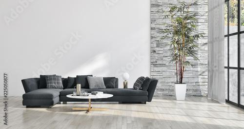 Obraz large luxury modern bright interiors apartment Living room illustration 3D rendering computer generated image - fototapety do salonu