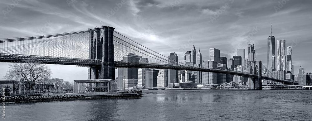 Fototapeta Panorama new york city at night in monochrome blue tonality