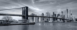 Fototapeta Nowy York - Panorama new york city at night in monochrome blue tonality