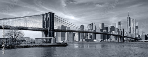 Deurstickers New York City Panorama new york city at night in monochrome blue tonality