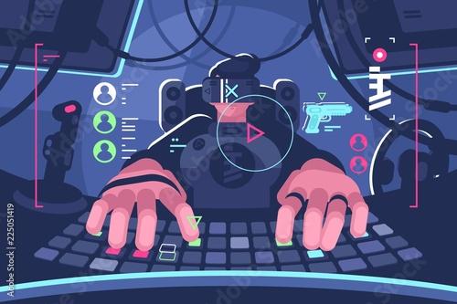 Photo  Professional virtual reality computer gamer person