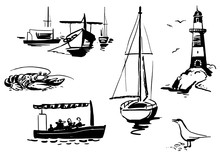 Marine Set In Cartoon Doodles Style With Ship, Boat, Seagull, Lighthouse, Steamer And Lobster. Vector Illustration.