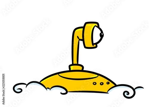 Photo  Yellow submarine peeps periscope cartoon illustration waves ocean