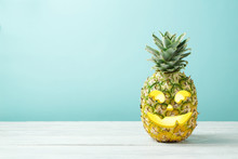 Halloween Holiday Concept With Jack O Lantern Pineapple