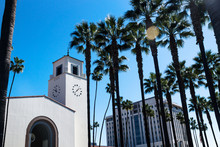 Union Station Surrounded By Palm Trees, Los Angeles, California