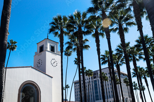 Union Station surrounded by palm trees, Los Angeles, California Canvas Print