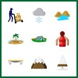 forest icons set. equipment, hoarfrost, stone and girl graphic works