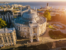 Odessa Opera And Ballet Theater Ukraine. Aerial Photography. City Cultural Sightseeing