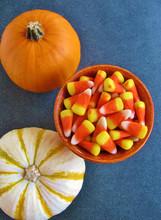 Autumn Still Life With Pumpkin, Candy Corn, Decorative Gourd