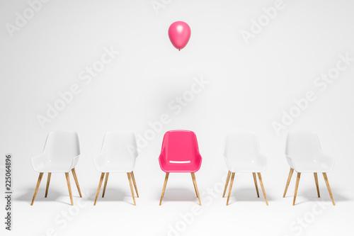 Fotografia White chairs row, pink chair with balloon, choice