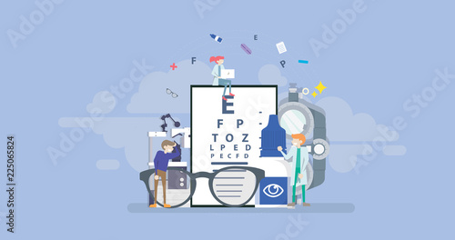 Fotomural  Medical Ophthalmologist Eyesight Check Up Tiny People Character Concept Vector I