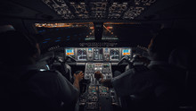 Modern Aircraft Cockpit Night ...