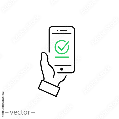 Fototapeta Payment approved icon, green checkmark on smartphone linear sign isolated on white background - editable illustration eps10 obraz