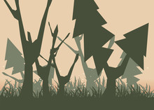 Forest Backgrounds Vector Illu...
