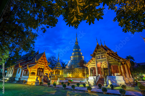 In de dag Bedehuis Wat Phra Singh is a Buddhist temple is a major tourist attraction in Chiang Mai,Thailand.
