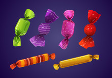 Set Of Halloween Candies With Colorful Wrapper And Pattern. Isolated On Violet Backgroud. Vector Illustration.