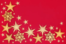 Gold Star Bauble Christmas Decorations Forming An Abstract Background With Copy Space. Traditional Festive Card For The Christmas Holiday Season.