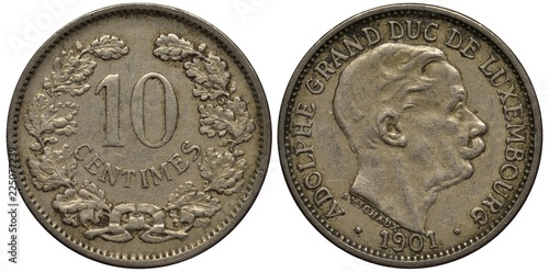 Fotografia  Luxembourg Luxembourgish coin 10 ten centimes 1901, value flanked by oak wreath,