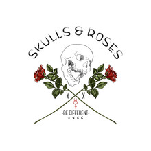 Slogan With Skull And Red Roses. Vector Typography For T Shirt, Embroidery And Printed Tee Design.