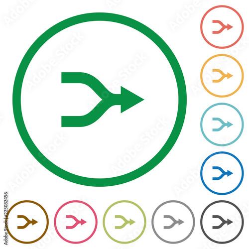 Платно Merge arrows flat icons with outlines