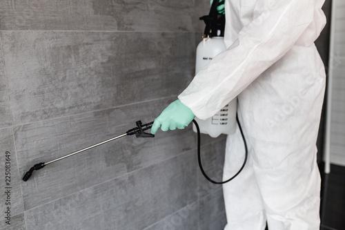 Cuadros en Lienzo Exterminator in work wear spraying pesticide with sprayer.