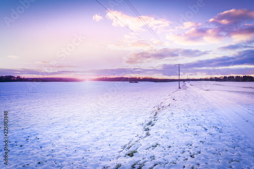 Printed kitchen splashbacks Purple Winter landscape in northern Germany