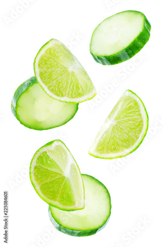 Flying Lime slices with Cucumber slices