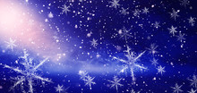 Winter, Snow, Background. Abstract Dark Bokeh Background With Snowflakes.