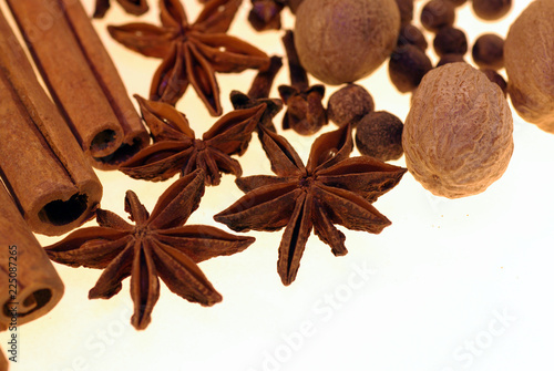 scented spices on a white background