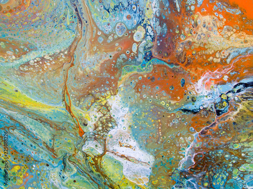 Abstract Painting Yellow Blue Green Orange Brown