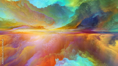 Wall Murals Magenta Visualization of Abstract Landscape