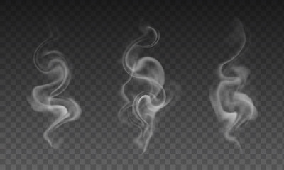 Vector set of realistic transparent smoke effects