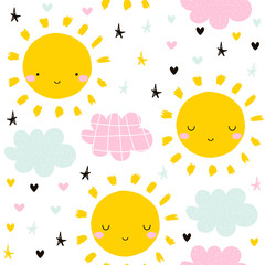 Cute seamless pattern with sun and clouds. Kids graphic. Vector hand drawn illustration.