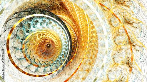 Foto auf AluDibond Spirale Golden futuristic clockwork illustration. Modern bright dynamic abstract digital background for wallpaper, interior, flyer cover, poster, banner, booklet. Fractal artwork for creative graphic design.
