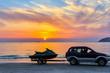 Water bike at sunset ocean bay view