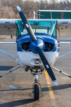 Small Propellor Plane Close Up, Front View Of Cessna Aircraft