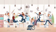 Happy Office Workers Jumping. ...
