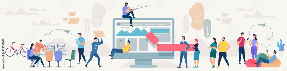 Fototapeta Social Network and Teamwork Vector Concept.