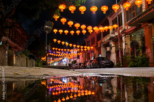 Chinese New Year celebration lanterns on Penang island, Georgetown, Malaysia